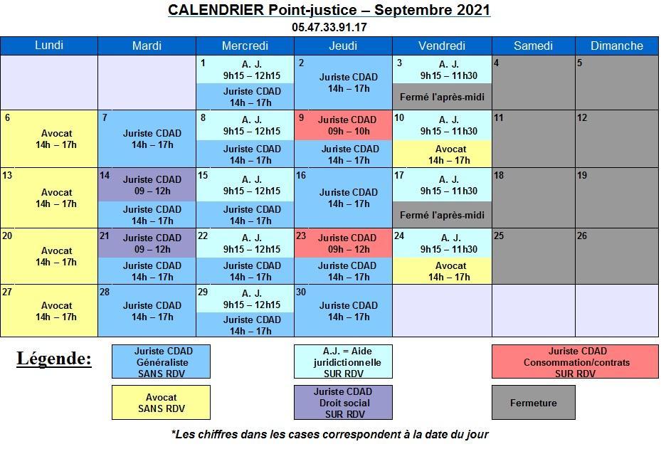 CDAD Gironde - Calendrier de septembre du Point-justice du Tribunal Judiciaire de Bordeaux