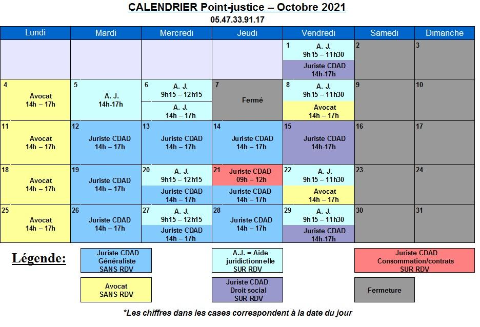CDAD Gironde - Calendrier d'octobre du Point-justice du Tribunal Judiciaire de Bordeaux