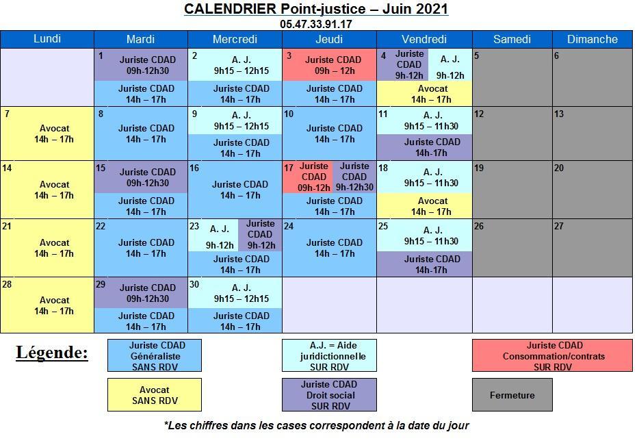 CDAD Gironde - Calendrier de juin du Point-justice du Tribunal judiciaire de Bordeaux
