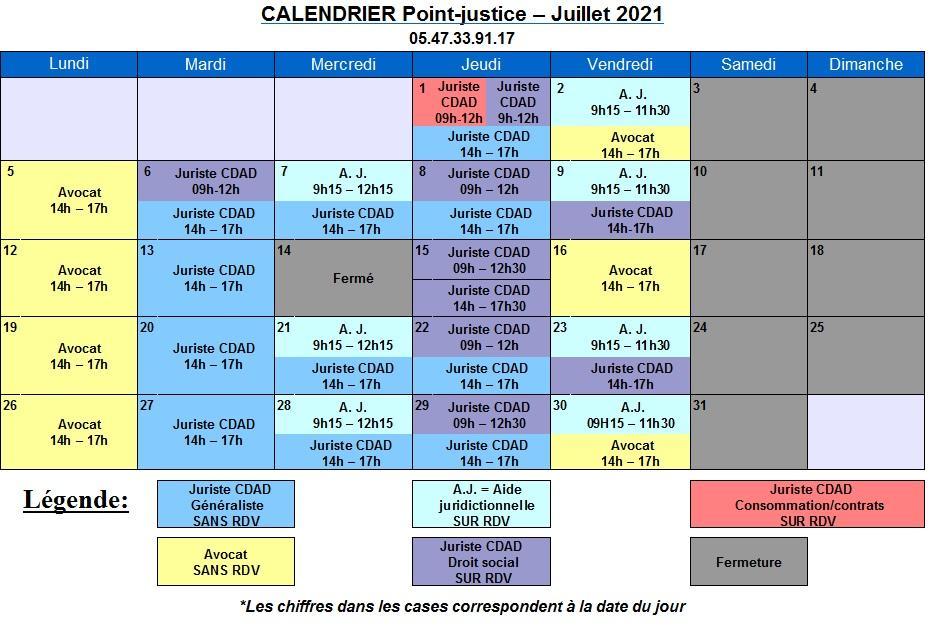 CDAD Gironde - Calendrier de juillet du Point-justice du Tribunal judiciaire de Bordeaux
